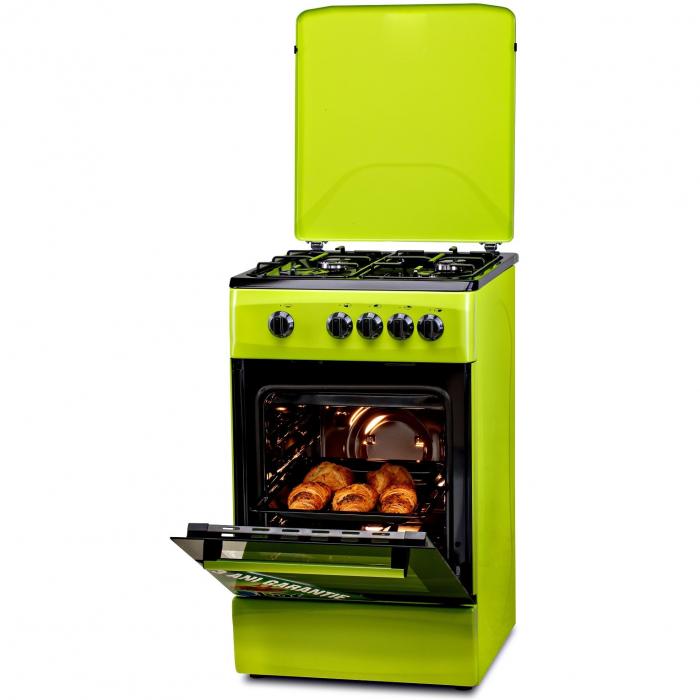 Aragaz LDK 5060 GREEN RMV, Gaz, 4 arzatoare, Capac metalic, Siguranta, 50x60 cm, Verde 1