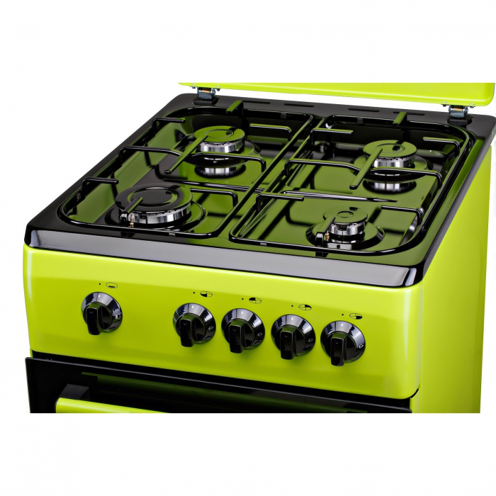 Aragaz LDK 5060 GREEN RMV, Gaz, 4 arzatoare, Capac metalic, Siguranta, 50x60 cm, Verde 3