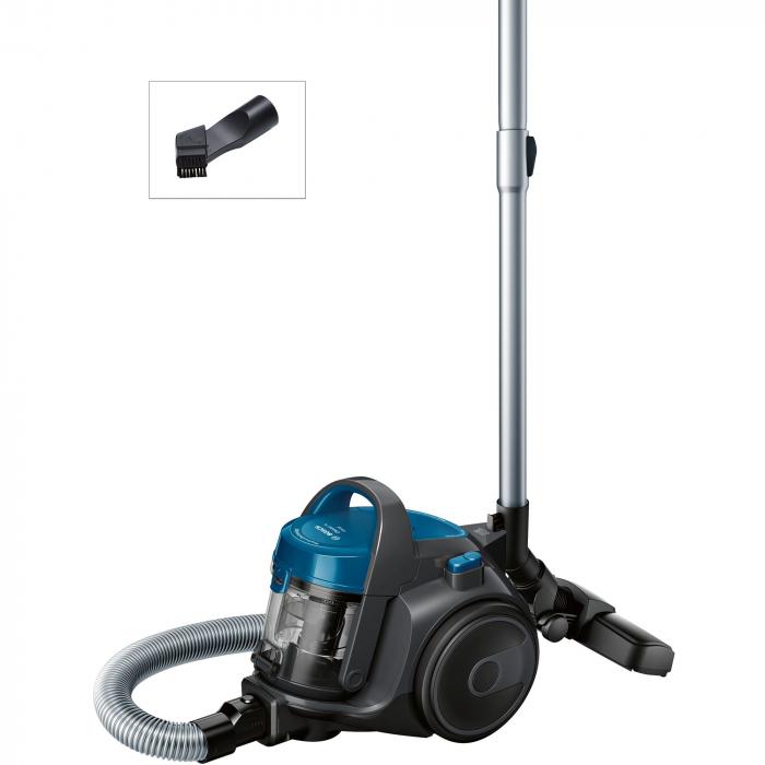 Aspirator fara sac Bosch BGS05A220, 700 W, 1.5 l, 3 A, Filtru igienic PureAir, Negru/Albastru 1