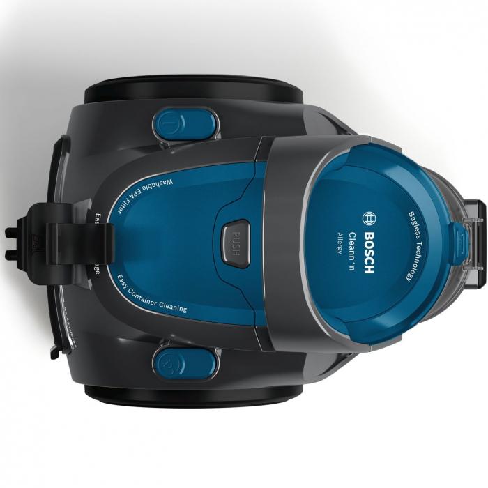 Aspirator fara sac Bosch BGS05A220, 700 W, 1.5 l, 3 A, Filtru igienic PureAir, Negru/Albastru 4