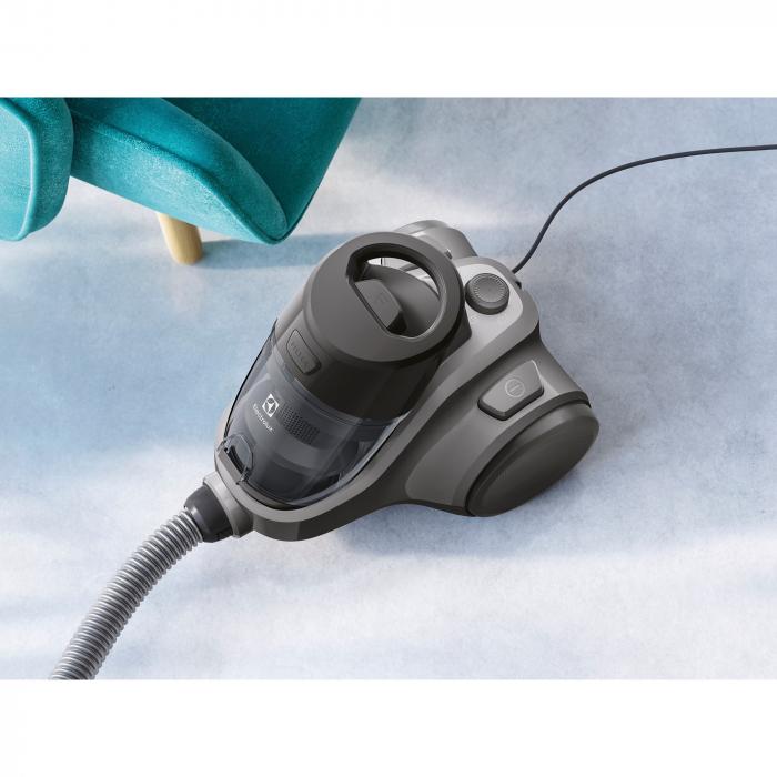 Aspirator fara sac Electrolux Ease C4 3A EC41-4T, 700 W, Clasa A, 1.8 L, Filtre lavabile, Perie parchet, Negru 5
