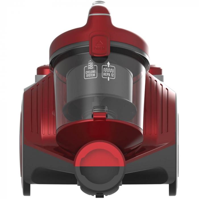 Aspirator fara sac Heinner HVC-MC700RD, 700 W, Filtrare ciclonica, Filtru Hepa 12, Rosu 1