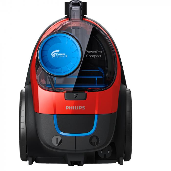 Aspirator fara sac Philips PowerPro Compact FC9330/09, 650 W, PowerCyclone 5, Perii TriActive, Rosu 0