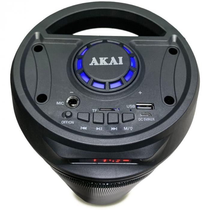 Boxa portabila activa Akai ABTS-530BT, 5 W, Bluetooth, USB, micro SD card slot, Intrare microfon, Lumini difuzor [2]