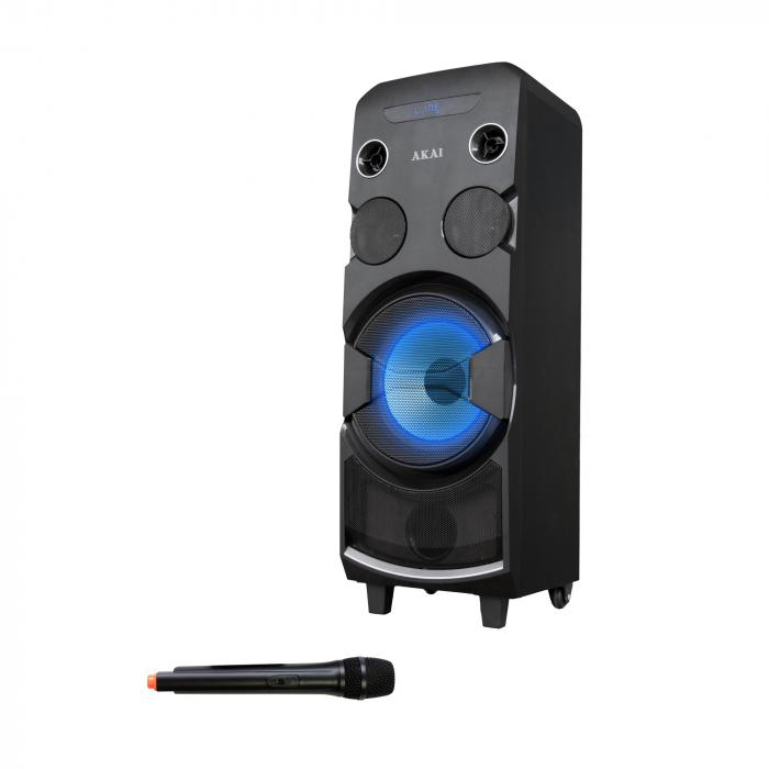 Boxa portabila AKAI ABTS-1002 , microfon wireless-Karaoke , BT/USB/SD/AUX/FM Radio, Telecomanda , Baterie reincarcabila 0