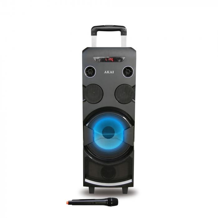 Boxa portabila AKAI ABTS-1002 , microfon wireless-Karaoke , BT/USB/SD/AUX/FM Radio, Telecomanda , Baterie reincarcabila 1