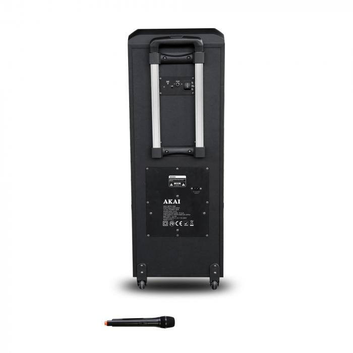Boxa portabila AKAI ABTS-1002 , microfon wireless-Karaoke , BT/USB/SD/AUX/FM Radio, Telecomanda , Baterie reincarcabila 2