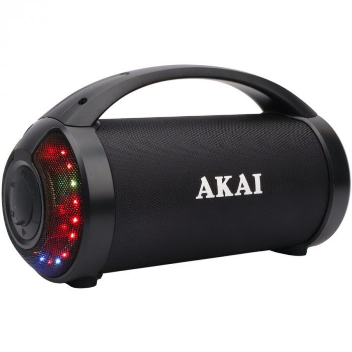 Boxa portabila Akai ABTS-21H, Bluetooth, USB, Aux in, radio FM, lumini difuzor, functie True Wireless Stereo, indicator LED nivel baterie [1]