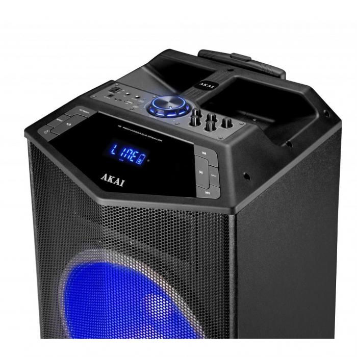 Boxa portabila Akai ABTS-DK15 cu BT, lumini disco, functie inregistrare, microfon 3
