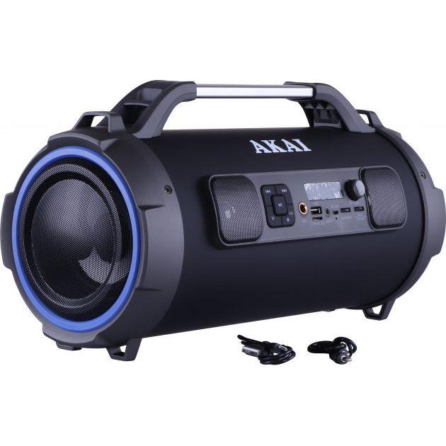 Boxa portabila cu trei difuzoare bazooka AKAI ABTS-13K cu BT , USB, Micro SD card , FM Radio , Aux-in 3.5mm ,Functie Karaoke ,Baterie reincarcabila, Lumini Led , Maner aluminiu 7
