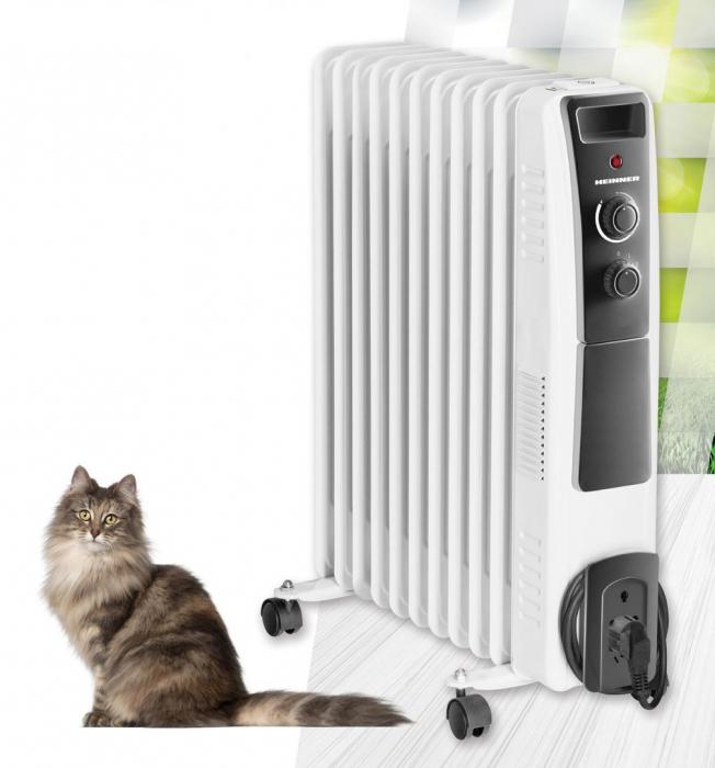 Calorifer electric cu ulei Heinner HOH-Y11WB, 2500 W, 11 elementi, protectie supraincalzire, termostat reglabil, alb [3]