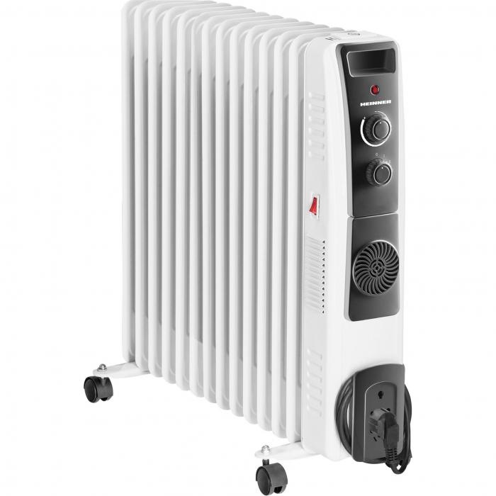 Calorifer electric cu ulei Heinner HOH-YV13BK, 2500 W, 13 elementi, ventilator 400W, protectie supraincalzire, termostat reglabil, alb 0