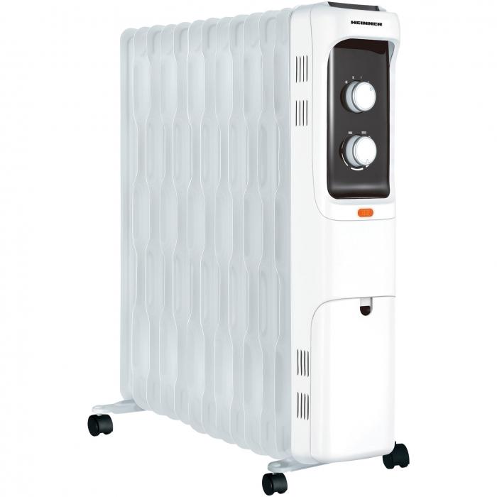 Calorifer electric Heinner HOH-S13WH, 2500 W, 13 elementi 125 x 590mm, panou de comanda mecanic, termostat ajustabil, 3 setari de temperatura 0