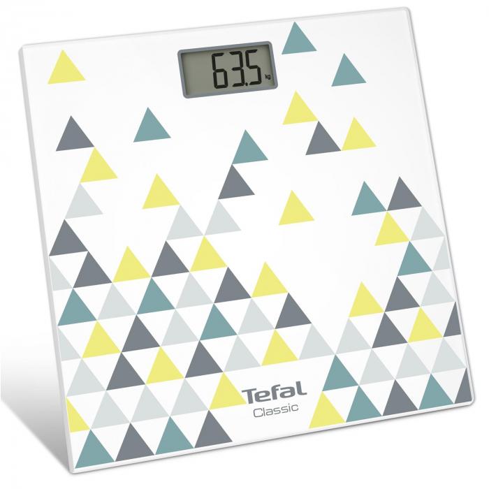 Cantar corporal Tefal Decor PP1145V0, 160kg, 100g, Lcd, 30x30cm, Alb/Abstract [1]