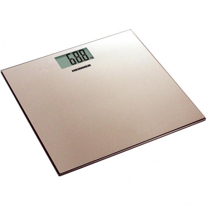 Cantar de persoane Heinner HBS-180SSGD, 180kg, platforma din inox colorat, 30 x 30 cm, display LCD, baterii 2 x 1.5V AAA, gold 0