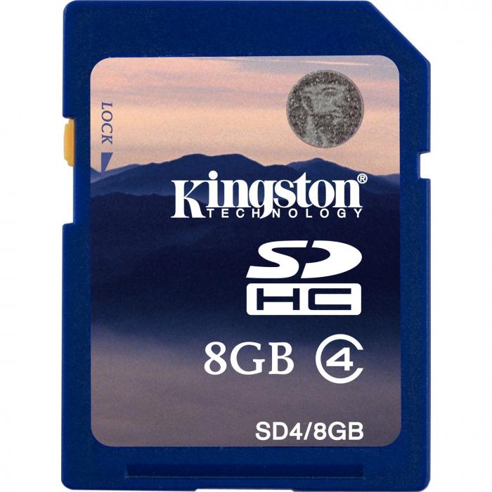 Card de memorie Kingston SDHC, 8GB, Class 4 0