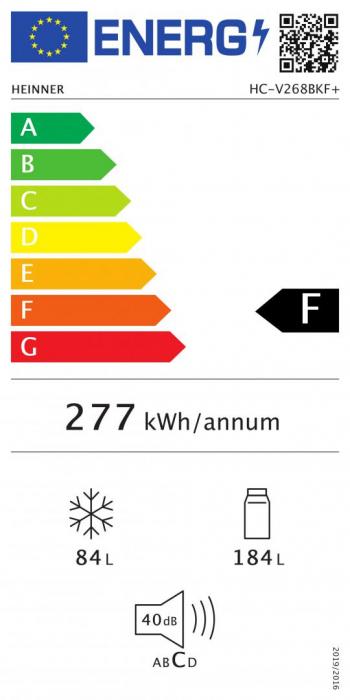 Combina frigorifica Heinner HC-V268BKF+, 268 l, Clasa A+, Control mecanic, H 170 cm, Negru [2]