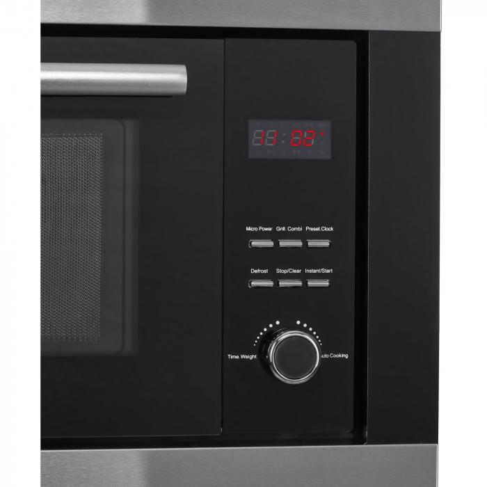 Cuptor cu microunde incorporabil Heinner HMW-23BIXBK, 23 L, 800 W, Grill, Digital, Negru/ Inox 3