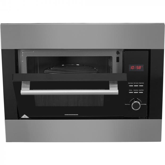 Cuptor cu microunde incorporabil Heinner HMW-23BIXBK, 23 L, 800 W, Grill, Digital, Negru/ Inox 2
