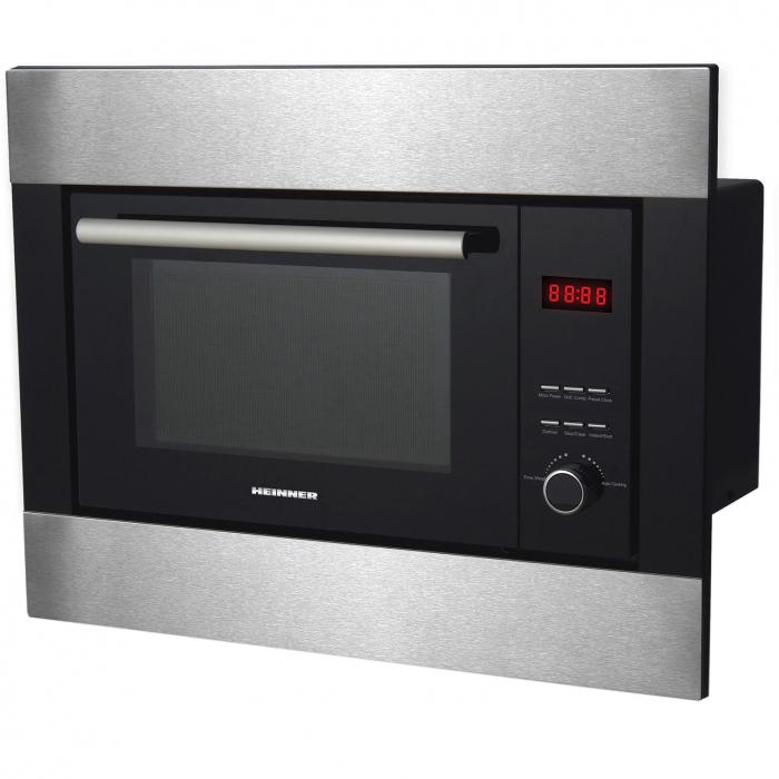 Cuptor cu microunde incorporabil Heinner HMW-23BIXBK, 23 L, 800 W, Grill, Digital, Negru/ Inox 1