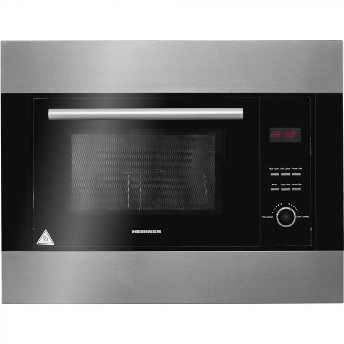 Cuptor cu microunde incorporabil Heinner HMW-23BIXBK, 23 L, 800 W, Grill, Digital, Negru/ Inox 0