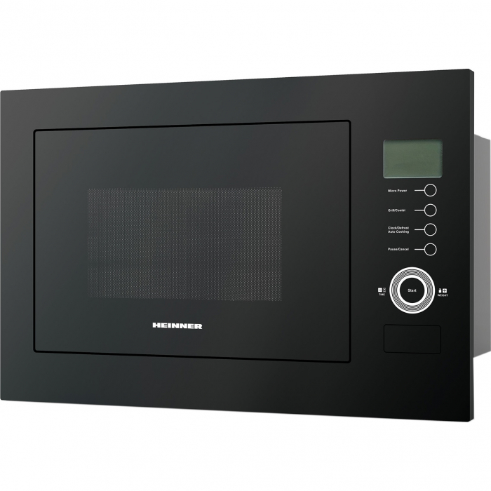 Cuptor cu microunde incorporabil Heinner HMW-25BIGBK, 25 L, 900 W, Grill, Control touch, Display LCD, Sticla Neagra 0