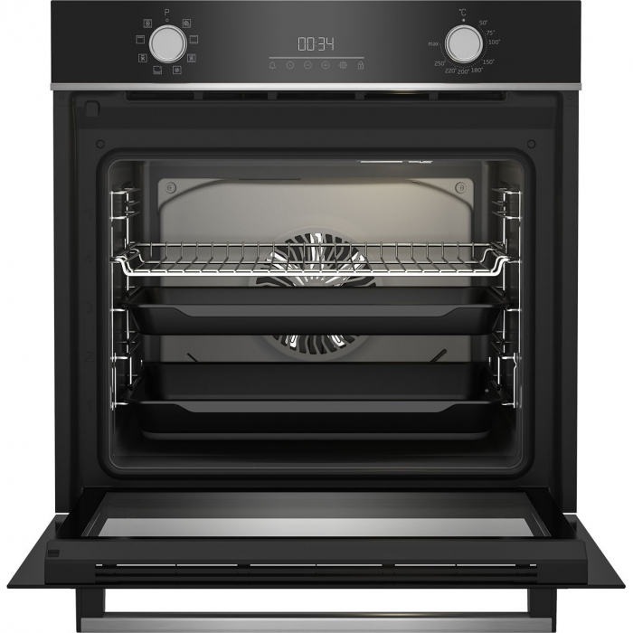 Cuptor incorporabil Beko BBIM13300XM, Electric, 72 l, Autocuratare catalitica, Display touch control, SteamShine Cleaning, Grill, 3D Cooking, Clasa A, Sticla neagra 1