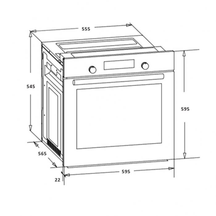 Cuptor incorporabil Heinner HBO-S567LDTGC-IX, Electric, 56 l, Mutifunctional, 7 Functii, Grill, Display Touch, Clasa A, Inox 1