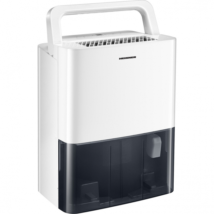 Dezumidificator Heinner HDU-M10, 10L/24h, control electronic, auto-restart, auto-oscilare, auto-dezghetare, timer 24h, 2.1L, maner, alb 1