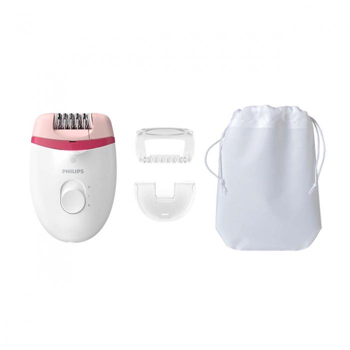 Epilator Philips Satinelle BRE255/00, 2 viteze, Opti-light, cap de epilare lavabil, 3 accesorii, Alb 0