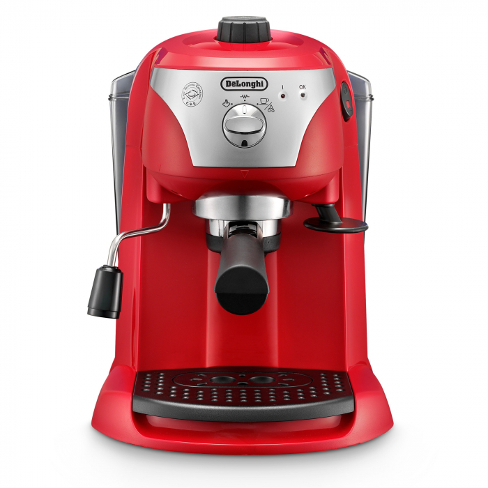 Espressor cu pompa DeLonghi EC221.Red, Dispozitiv spumare, Sistem cappuccino, 15 Bar, 1 l, Oprire automata [1]