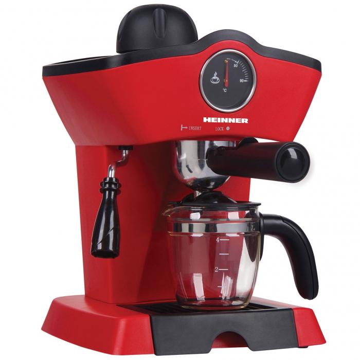 Espressor Heinner HEM-200RD, 800W, 3.5 bar, filtru inox, 250 ml, Rosu 0