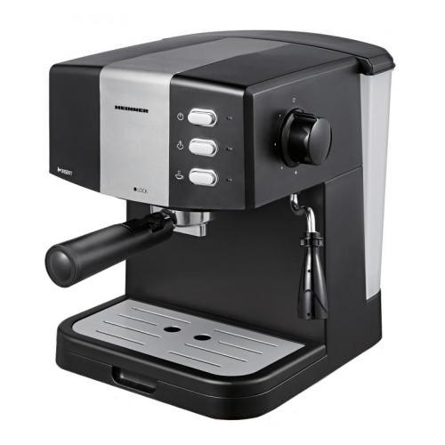 Espressor Heinner HEM-850BKSL, 850 W, 1.5 L, 15 bar, filtru dublu din inox, Negru/Argintiu [0]