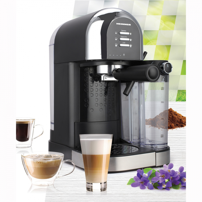 Espressor manual Heinner Coffee Dreamer HEM-DL1470BK, 1230-1470W, 20bar, , dispozitiv spumare lapte, rezervor detasabil lapte 500ml, rezervor apa 1.7L, 6 tipuri de bauturi, Negru 2