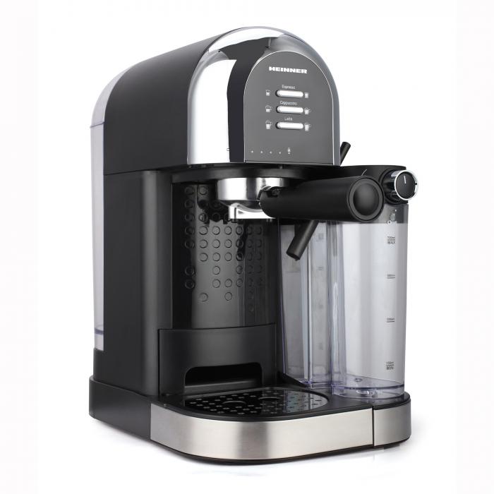 Espressor manual Heinner Coffee Dreamer HEM-DL1470BK, 1230-1470W, 20bar, , dispozitiv spumare lapte, rezervor detasabil lapte 500ml, rezervor apa 1.7L, 6 tipuri de bauturi, Negru 1