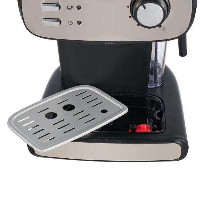 Espressor manual Heinner Black Boquette HEM-1100BKX, 850W, 15bar, rezervor detasabil 1.2L, filtru dublu din inox, Negru/Inox [3]