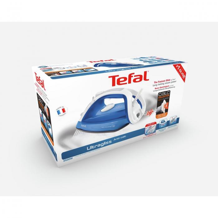 Fier de calcat Tefal Ultragliss 4 FV4964E0, 2500W, rezervor de apa 0.27L, jet de abur 180g/min, abur variabil 40g/min, Albastru 3