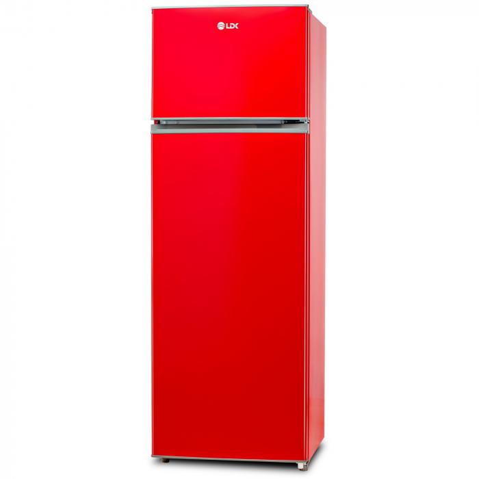 Frigider cu doua usi LDK LF 260 RED, Clasa A+, Capacitate 240 l, H 159 cm, 5 ani garantie, Rosu 1