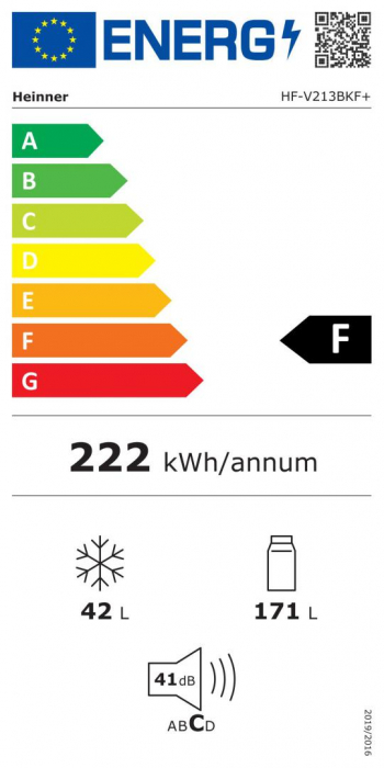 Frigider cu 2 usi Heinner HF-V213BKF+, 212l, Congelare rapida, Clasa F, H 144 cm, Negru [2]