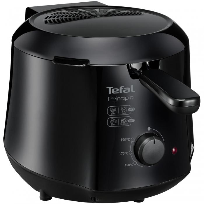 Friteuza Tefal Minicompact FF230831 Principio, 1000W, 0.6 Kg, 1.2L, termostat reglabil, Negru 0
