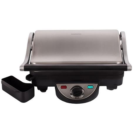 Gratar Electric Daewoo DG70, 1800 W, placi antiaderente, 26x23 cm, ajustare inaltime gatire, termostat, tavita colectare grasime, Inox