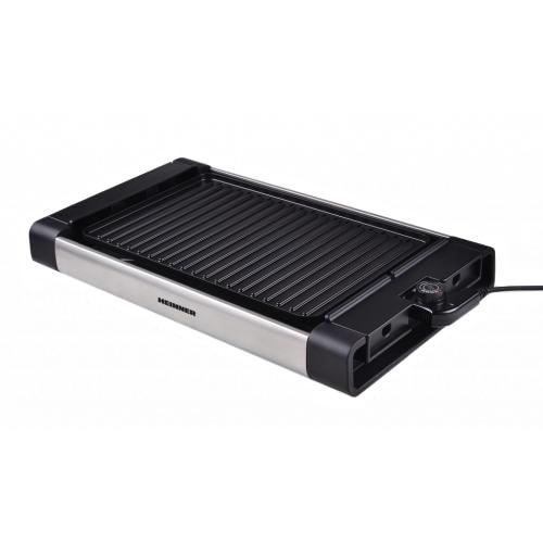 Gratar electric Heinner HEG-F1800, 1800 W, placa detasabila cu invelis anti-adeziv, placa 41 x 26 cm, Negru/Inox 0