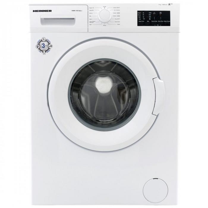 Masina de spalat rufe Heinner HWM-V7010A++, 7KG, 1000 RPM, Clasa A++, Ecran LED, Functie start intarziat, Sistem Eco Logic, 60 cm, Alb 0