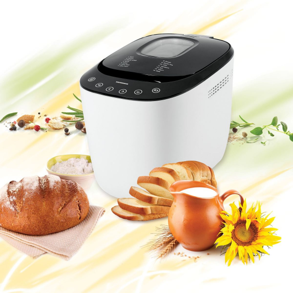 Masina de paine Heinner HBM-900WHBK, 550W, Capacitate 750-900G, Touch Control, Timer, Afisaj LCD, Alb
