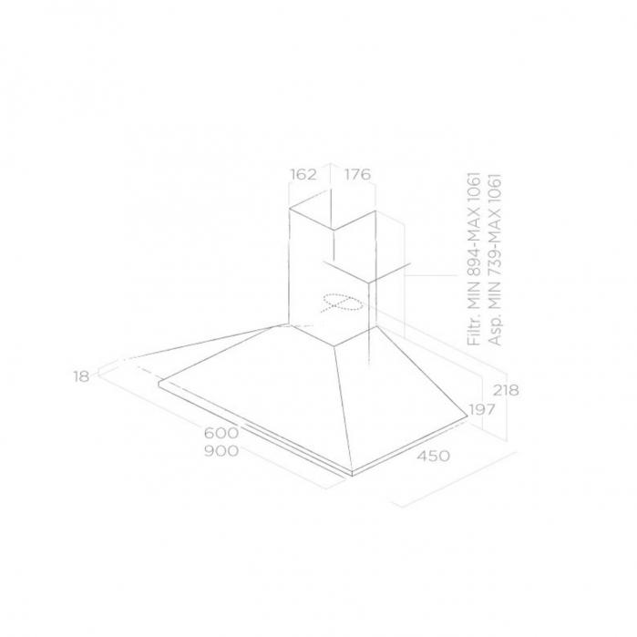 Hota incorporabila decorativa Elica MISSY PB IX/A/60, Putere de absorbtie 395 mc/h, Sistem recirculare, Iluminare LED, Clasa D, 60 cm, Inox [1]