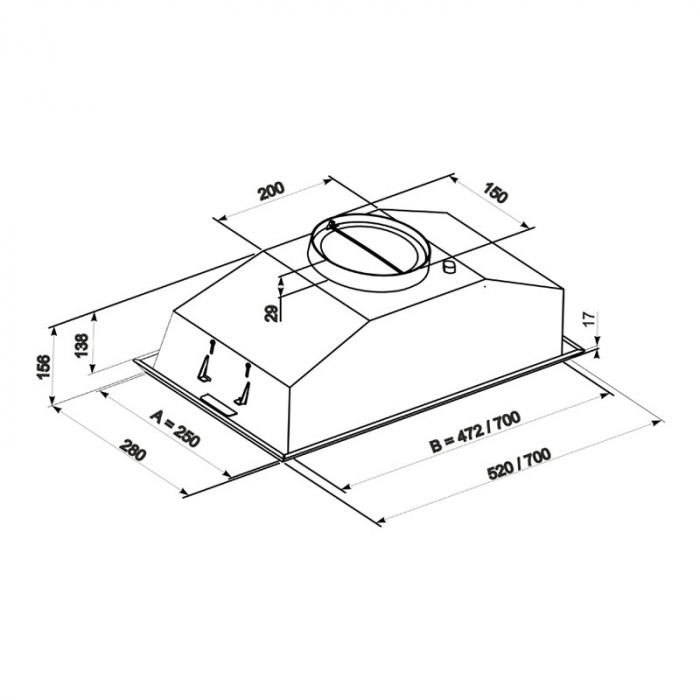 Hota Incorporabila Tornado Modul 700 (52) LED, 1 motor Turbo, latime 52 cm, absorbtie 700 m3/ora, filtru anti-grasimi aluminiu 5 straturi, Inox [3]