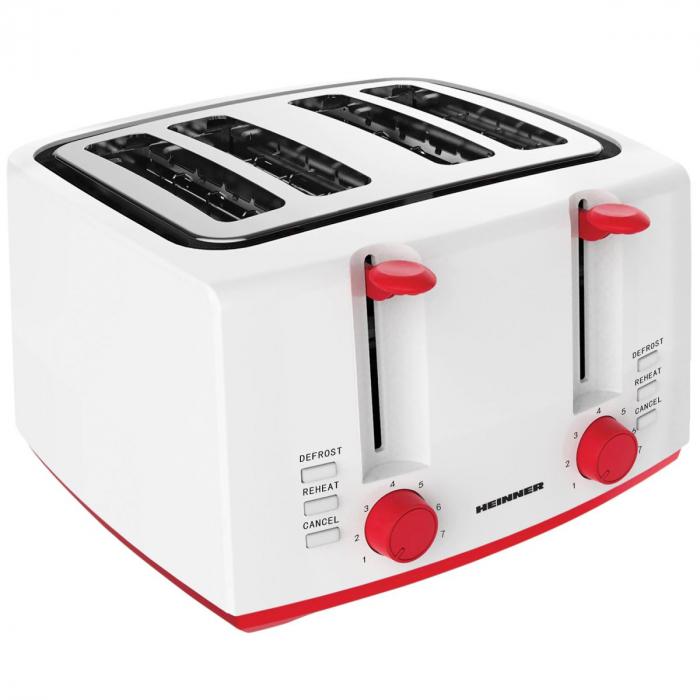 Prajitor de paine Heinner Panfette 1300 HTP-1300WHR, 1100W, capacitate 4 felii, 7 niveluri de rumenire,Alb/Rosu [0]