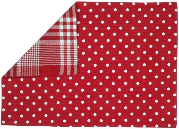 Suport pentru farfurie Heinner HR-PLC-RED03-48, Bumbac, 33 x 48 cm, model Dots Alb/Rosu 0