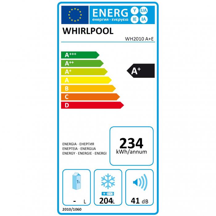 Lada frigorifica Whirlpool WH2010A+E, 204 l, Clasa A+, 6th Sense, Alb