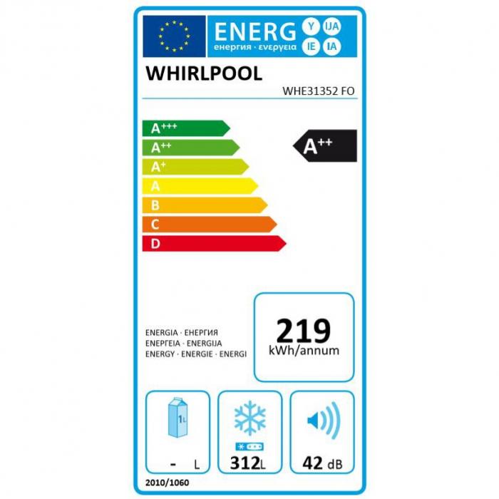 Lada frigorifica Whirlpool WHE31352 FO, 311 L, Frost Out, 6th Sense, Alb 3